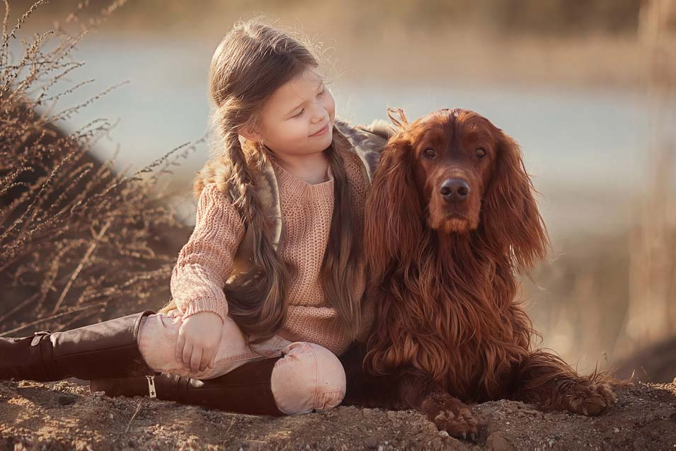 Picture of a girl and an Irish Setter