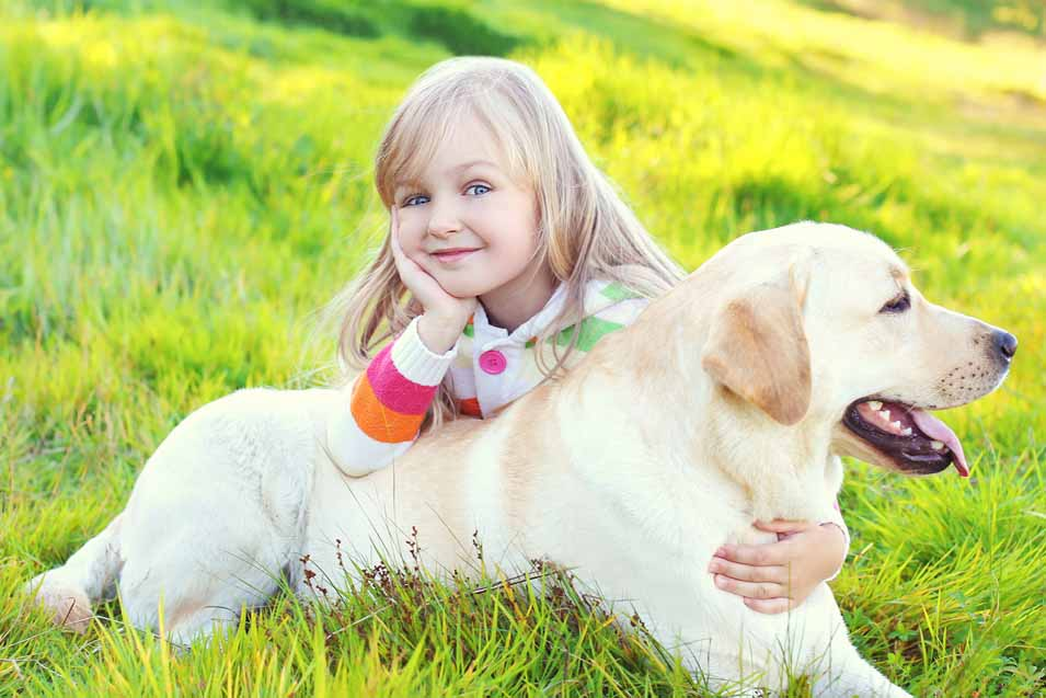 Picture of a young girl and a Labrador Retriever