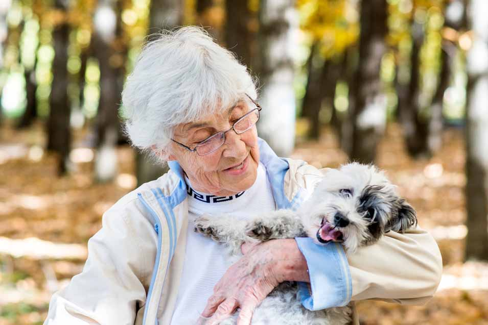 Picture of a older woman holding a mixed breed
