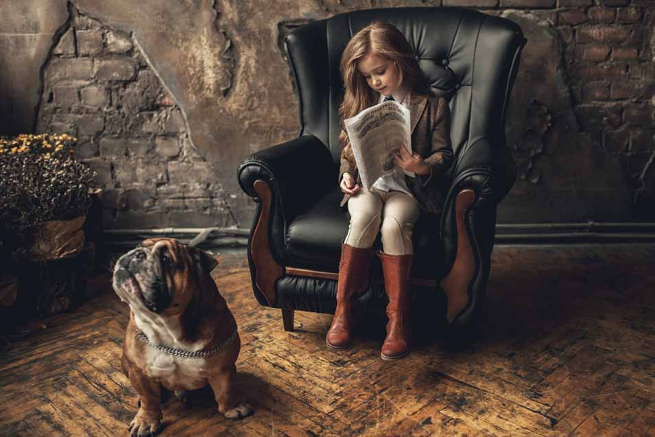 Picture of an English Bulldog and Girl