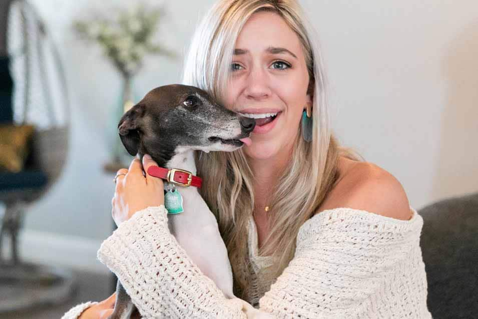 Picture of a woman and an Italian Greyhound